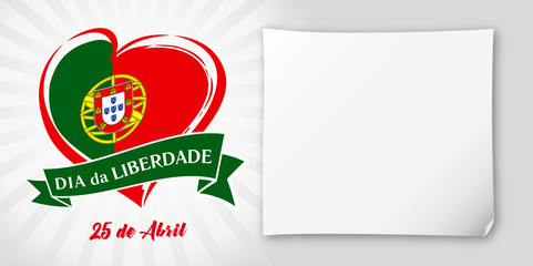 Liberty  Day Portugal, heart emblem in national flag colored. Flag of Portugal with heart shape for Portugal Liberty Day 25 April and paper isolated on white background. Vector illustration