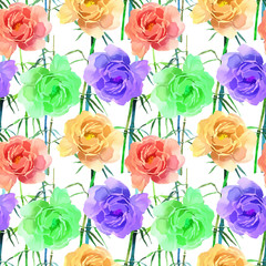 Beautiful Colorful Watercolor Rose Floral Seamless Pattern Background. Elegant illustration with flowers.