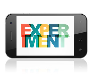 Science concept: Smartphone with Painted multicolor text Experiment on display, 3D rendering