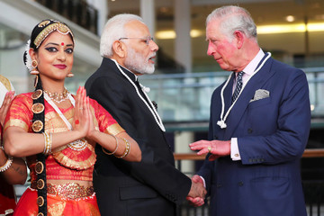 Britain's Prince Charles and India's Prime Minister Narendra Modi visit the science museum in London