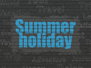 Vacation concept: Painted blue text Summer Holiday on Black Brick wall background with  Tag Cloud