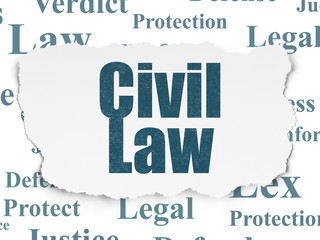 Law concept: Painted blue text Civil Law on Torn Paper background with  Tag Cloud