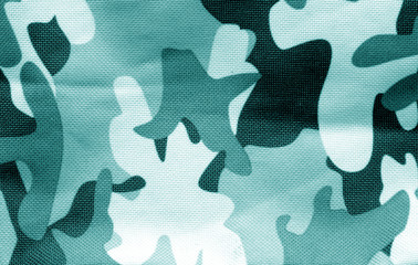 Military uniform pattern in cyan tone.