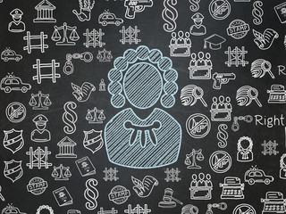 Law concept: Chalk Blue Judge icon on School board background with  Hand Drawn Law Icons, School Board