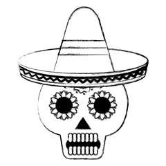 death day mask with mexican hat celebration vector illustration design