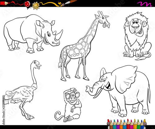 safari cartoon animal characters coloring book\