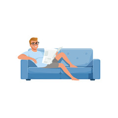 Young man sitting on a blue sofa and reading newspaper, people activity, daily routine vector Illustration on a white background