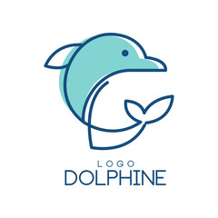 Dolphine logo design, abstract emblem with dolphin in blue colors vector Illustration on a white background