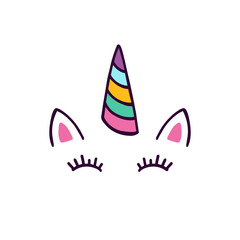 Unicorn head with eyes vector illustration.