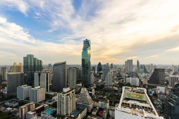 beautiful sunset  of the Metropolitan Bangkok City downtown cityscape urban skyline  Thailand in December 2017 - Cityscape Bangkok city Thailand