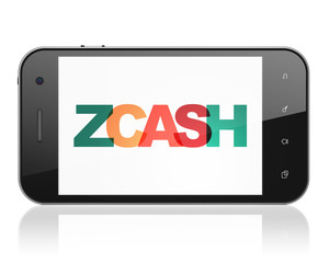 Blockchain concept: Smartphone with Painted multicolor text Zcash on display, 3D rendering
