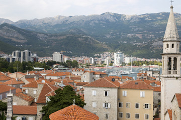Budva, Montenegro - August 03, 2017:View of the city from the observation deck of the ancient fortress Citadel