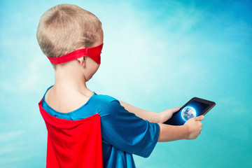 The super hero monitors the planet's safety with the help of mobile technology.