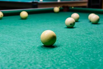 Balls on the green cloth. Russian billiard
