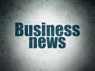 News concept: Painted blue word Business News on Digital Data Paper background
