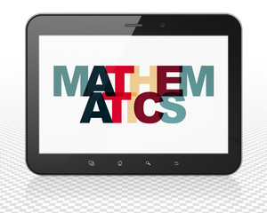 Learning concept: Tablet Pc Computer with Painted multicolor text Mathematics on display, 3D rendering