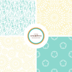 Vector set of four backgrounds with seamless abstract patterns. Circles, flowers, lines and dots.