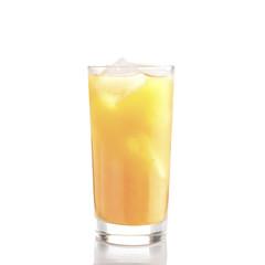 Glass of orange juice with ice on white background