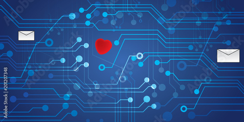 Circuit Board with letters and heart. Digital vector illustration ...