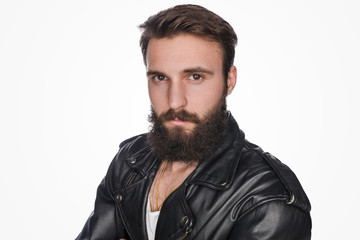 Brutal bearded guy in jacket