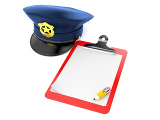 Police hat with blank clipboard