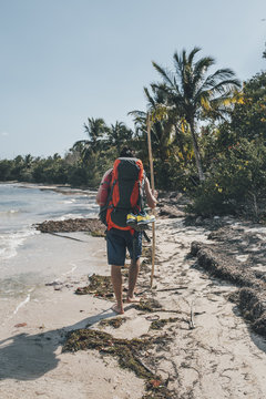 Cuba, Cienaga de Zapata, Backpacker walking on the beach, rear view