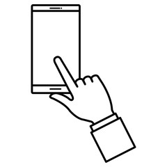 hand with smartphone device isolated icon vector illustration design
