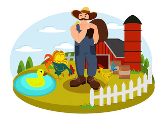 Illustration on the chicken farm in vector with a building surrounded by the fence and farmer with hens in the yard