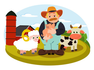 Farm illustration in vector with farmer holding little pig, standing near the cow and sheep. Cartoon character of countryside man on the farm