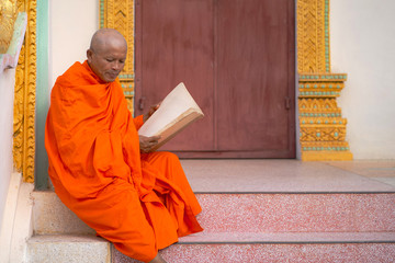 Monks in Thailand are reading books