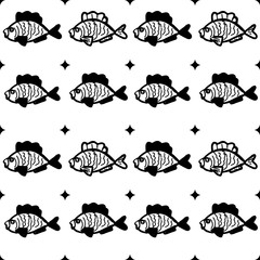 Seamless pattern with a decorative fishes