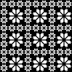 Seamless decorative pattern with a flowers in a black - white colors