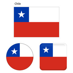 Flag of Chile. Correct proportions, elements, colors. Set of icons, square, button. Vector illustration on white background.