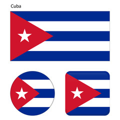 Flag of Cuba. Correct proportions, elements, colors. Set of icons, square, button. Vector illustration on white background.