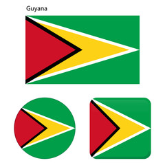 Flag of Guyana. Correct proportions, elements, colors. Set of icons, square, button. Vector illustration on white background.