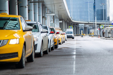 Taxi line next to International Airport