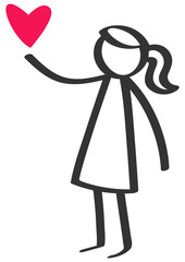Simple black and white stick figure girl giving love red heart, Mother's Day isolated on white background
