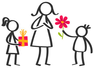 Simple stick figures family, children giving flowers and gifts to mother on Mother's Day isolated on white background
