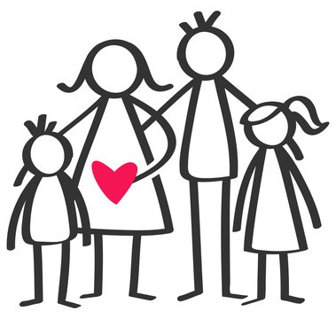 Simple stick figures happy family, mother, father, son, daughter, children, red heart isolated on white background