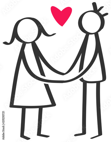 Simple Stick Figures Happy Couple Man Woman Holding Both Hands Red