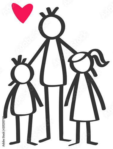 """Simple stick figures single parent, father, son, daughter ..."