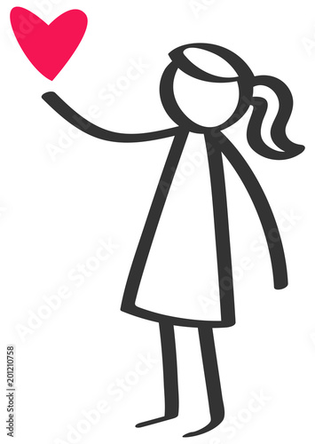 Simple Black And White Stick Figure Girl Giving Love Red Heart