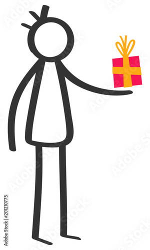 Simple Black And White Stick Figure Man Giving Gift Box Birthday