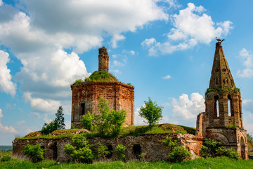 Ruins of the abandoned church of St. John the Evangelist of the 18th century in Fedorovsky. Zhukovsky District, Kaluzhskaya Region, Russia