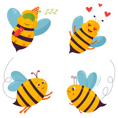 Set of four bright joyful bee characters