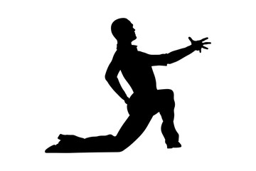male dancer dance pose on his knee black silhouette