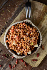 lentil salad on a rustic wooden table