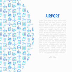 Airport concept with thin line icons: check-in counter, gates, boarding pass, escalator, toilet, food court, baggage claim, wrapping service, duty free, departures. Vector illustration for print media