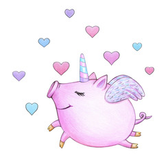 Cute  unicorn, pig cartoon, isolated on white.
