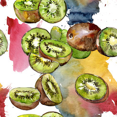 Exotic kiwi wild fruit in a watercolor style pattern. Full name of the fruit: kiwi. Aquarelle wild fruit for background, texture, wrapper pattern or menu.
